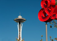 Space Needle and Seattle Art Museum Sculpture Garden
