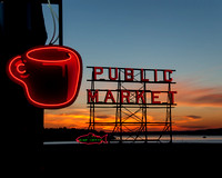 Pike Place Market,  Neon Coffee Cup January 2008