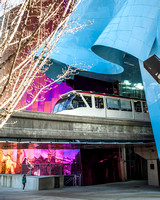 Seattle Center Monorail and Experience Music Project (EMP)