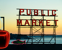 Pike Place Market and Seattle's Best Coffee Neon Sign